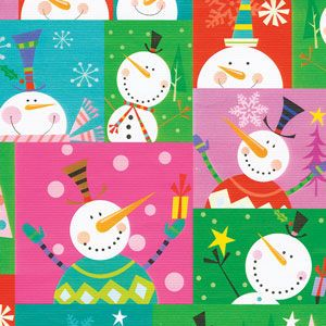 Colorblock Snowman, Snowman Gift Wrap
