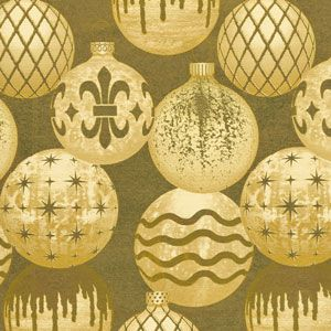 Gilded Ornaments, Foil, Christmas Ornament Gift Wrap