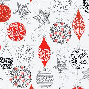 Delicate Ornaments, Swirls, Metallized, Christmas Ornament Gift Wrap