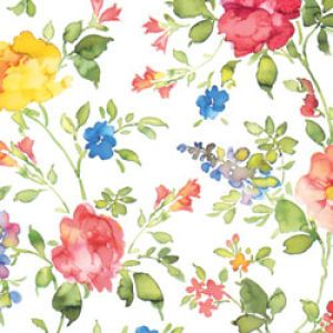 Floral & Tapestries Gift Wrap, Watercolor Vines, Flowers, Process