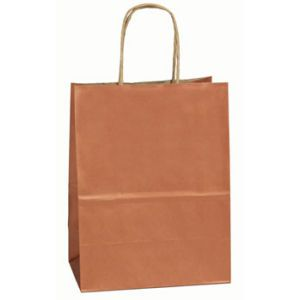 """Copper, Small Recycled Paper Shopping Bags, 5-1/2"""" x 3-1/4"""" x 8-3/8"""" (Gem)"""