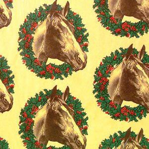 Christmas Western Gift Wrap, Wreath Horse