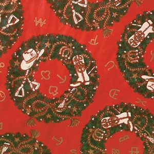 Christmas Western Gift Wrap, Christmas Wreath
