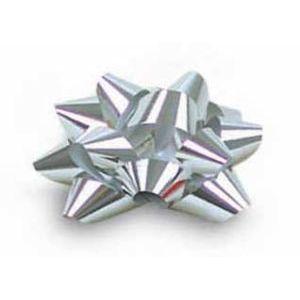 "1/4"" Silver, Glitter Star Bows"