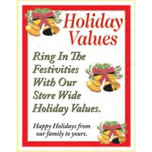 """Window Poster, """"Holiday Values"""", 28"""" x 36"""""""