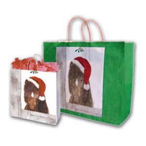 Santa Pony, Medium Western Christmas Bags