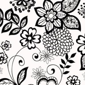 Floral & Tapestries Gift Wrap, Black & White, Floral, Supreme Gloss