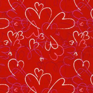 Valentine Gift Wrap, Heart Toss, Valentine's Day, Linework