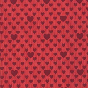 Valentine Gift Wrap, Red Foil Embossed Hearts