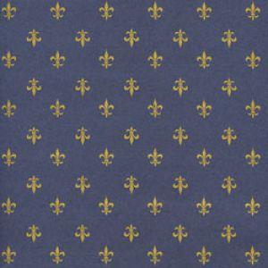 Floral & Tapestries Gift Wrap, Navy & Gold Fluer De Lis, Kraft